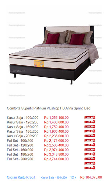harga comforta superfit spring bed