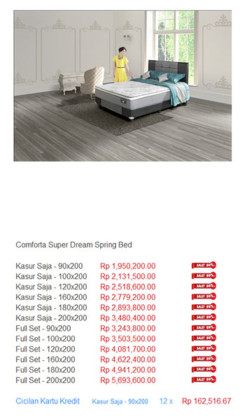 harga comforta spring bed