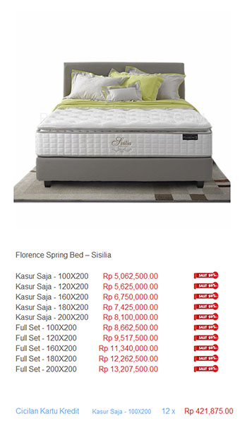 harga florence spring bed16