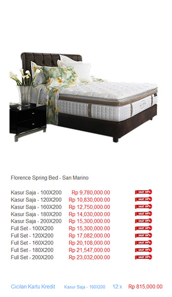 harga florence spring bed20