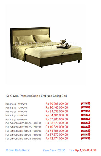 harga king koil spring bed