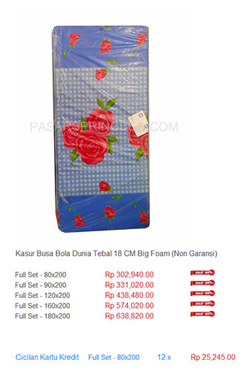 harga spring bed kasur busa big foam bola dunia bigfoam